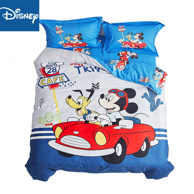 Mickey mouse Bedding set for kids bed decor double size duvet covers single bedspread flat sheet 4pcs free shipping home textileMickey mouse Bedding set for kids bed decor double size duvet covers single bedspread flat sheet 4pcs free shipping home textile