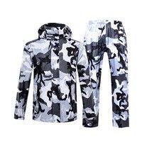 Hot Camouflage Raincoat Women/Men Suit Rain Coat Outdoor Hood Women's Raincoat Motorcycle Fishing Camping Rain Gear Men's Coat