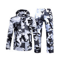 Hot Camouflage Raincoat Women/Men Suit Rain Coat Outdoor Hood Women's Raincoat Motorcycle Fishing Camping Rain Gear Men's Coat