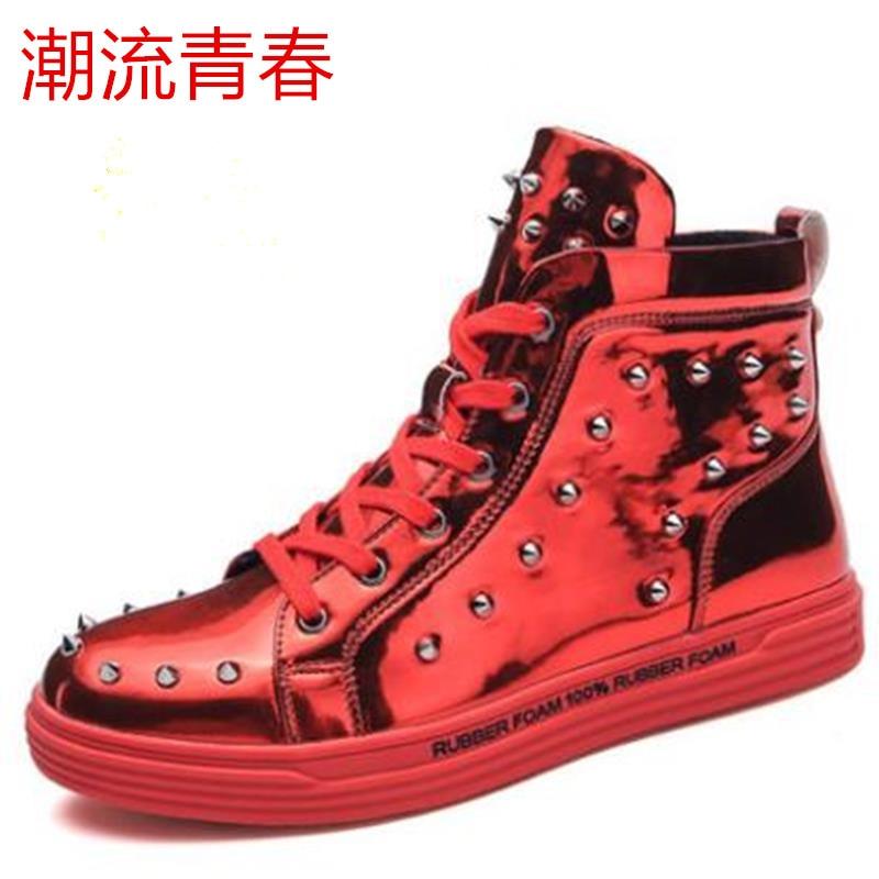 Dos Tamanho Qualidade Demão Masculinos Sapatilhas Moda Preto 44 Respirável 39 Das Outono prata Rebite Adulto Casuais vermelho Sapatos De Homens Confortável Tinta waxtr7aCYq