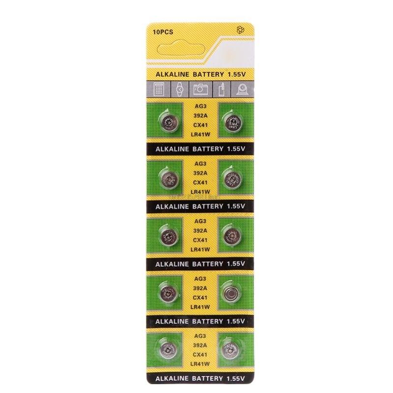10PCS Cell Coin Alkaline Battery AG3 1.55V Button Batteries SR41 AG3 L736 384 SR41SW CX41 LR41 392 Lamp Chain Finger Light Watch
