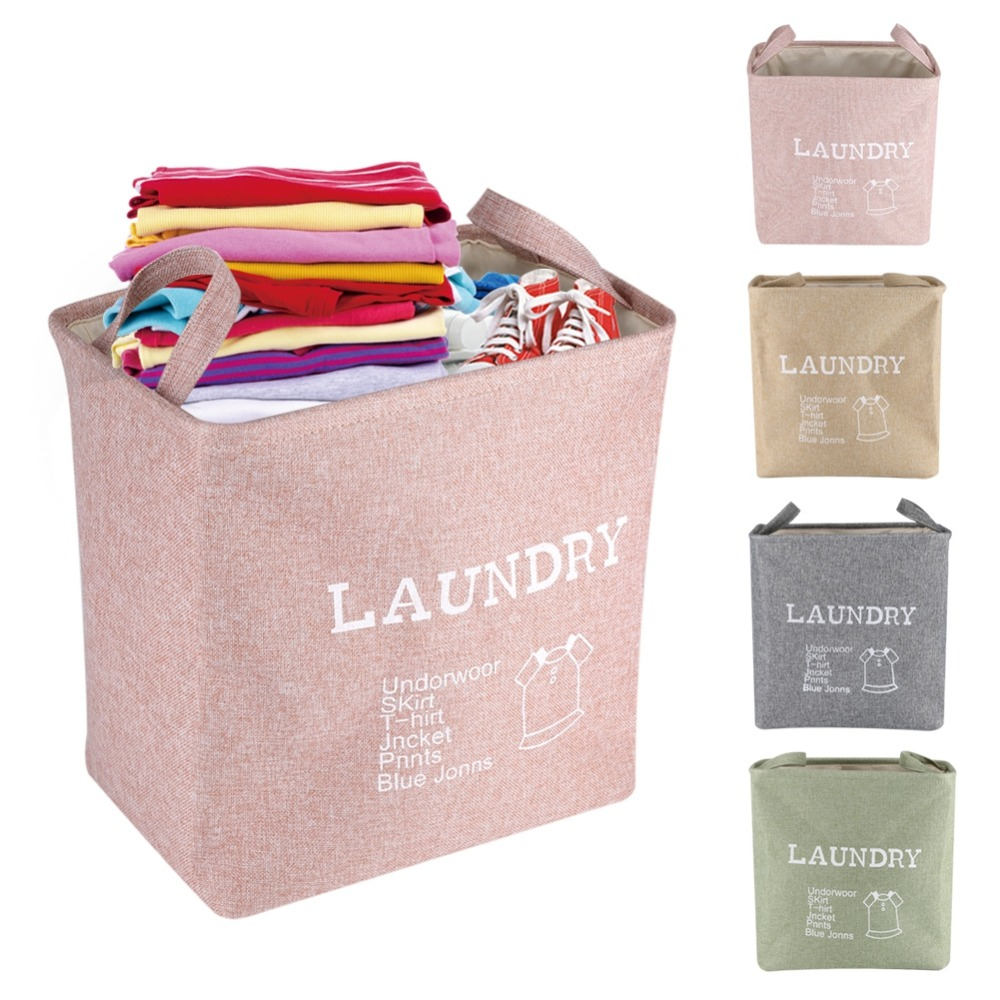 us $10.83 31% off|large laundry hamper bag canvas clothes storage baskets  home clothes barrel bags kids toy storage laundry basket thickness bins-in