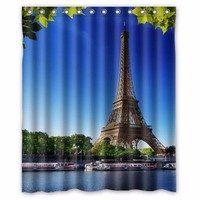 Eiffel Tower Summer Romantic Paris Custom Shower Curtain 100% Polyester Waterproof Bathroom decor Polyester Shower Curtain