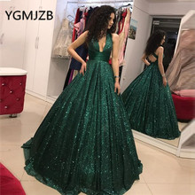 Sparkly Sequined Evening Dresses Long 2019 A-line Deep V-neck Saudi Arabic Women Formal Prom Gown Party Dress Robe De Soiree цена и фото