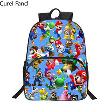 Hot New Style Oxford 16 Inches Printing Super Mario Kids School Bags for Teenager Backpack Cartoon Bookbag Children Schoolbag(China)