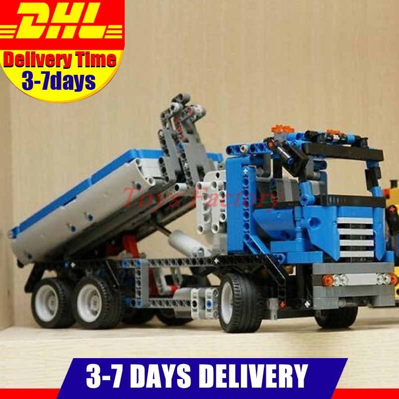 In Stock Lepin 20027 Technic Mechnical Series The Container Truck Building Blocks Bricks Children Toys Compatible 8052 decool 3345 technic city series mini container truck 119pcs building block educational toys for children compatible legoe
