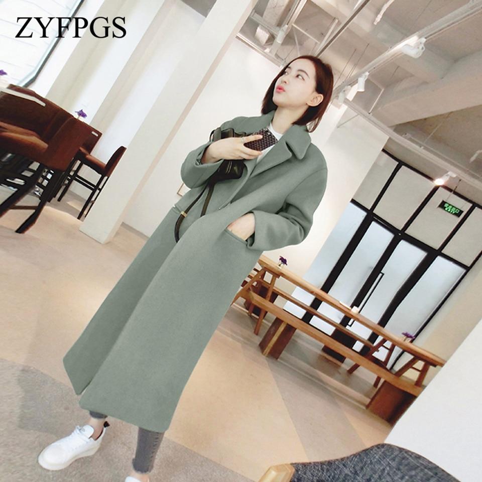 665f9e10e8d3 ZYFPGS 2018 Winter Coat Women Fashion Sales Top Plus Size Wool Long Section  Brand Fine Fabric
