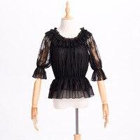 Summer Women's Lolita Chiffon Inner Shirt Short Sleeve Blouses Slash Neck Daily Cute Comfortable Color Black
