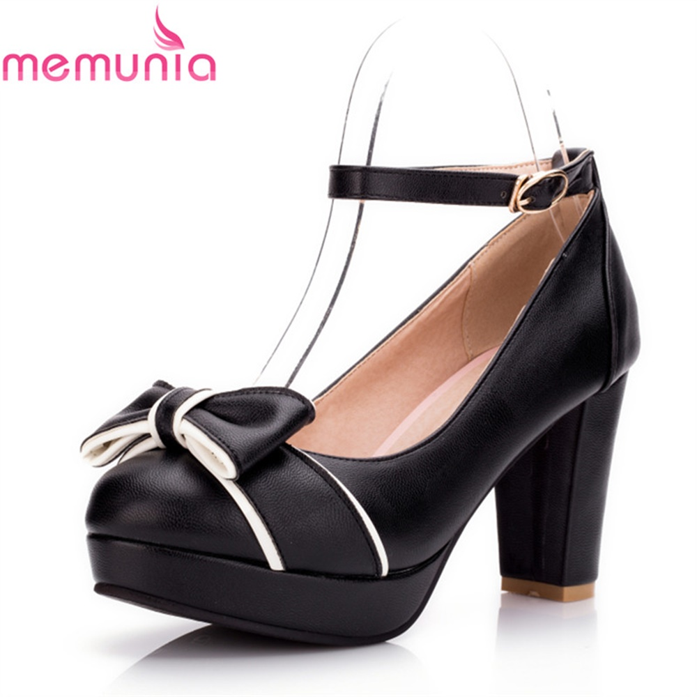 MEMUNIA pumps women shoes super high heels butterfly-fly round toe spring autumn pu leather fashion sexy shallow mature shoes egonery shoes 2017 spring and autumn concise wedges butterfly knot pumps simple lace up sweet round toe women fashion high heels