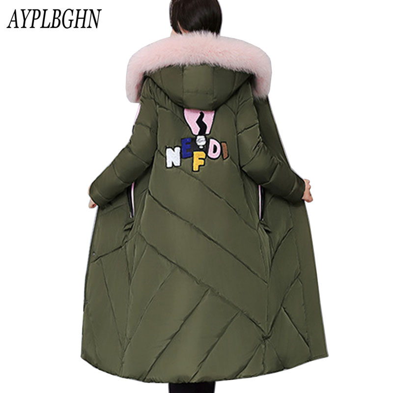 Winter Jacket Women Hooded Thicken Coat Female Fashion Warm Outwear Down Cotton-Padded Long Wadded Jacket Plus size Coat Parka