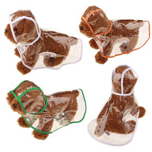 Transparent waterproof raincoat Autumn and winter dog clothes puppy poncho hooded Teddy Schnauzer