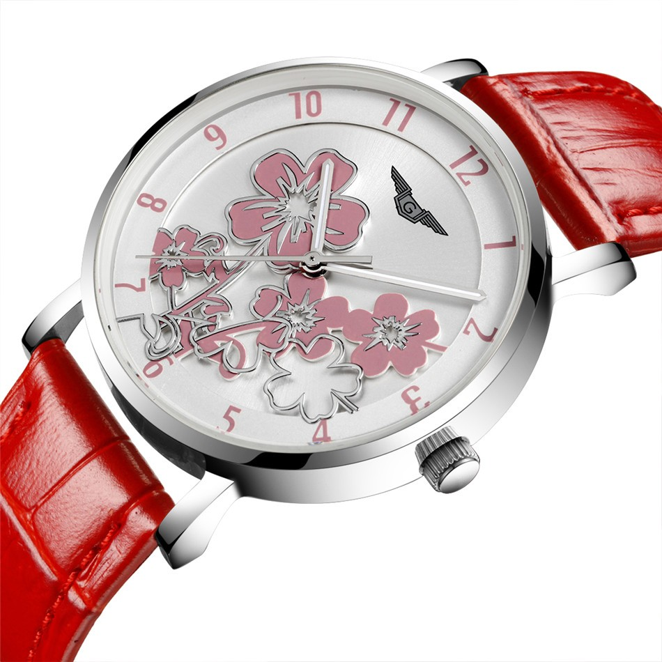 ФОТО relogio feminino GUANQIN Fashion Watch Women Luxury Brand Flower Design Quartz Watch Ladies Casual Red Leather Strap Wrist Watch