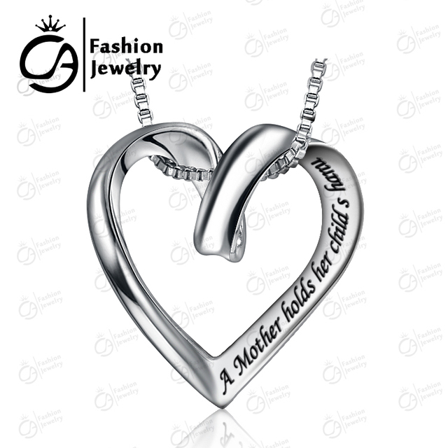 Mother Day Hand Engrave Heart Pendant Necklace