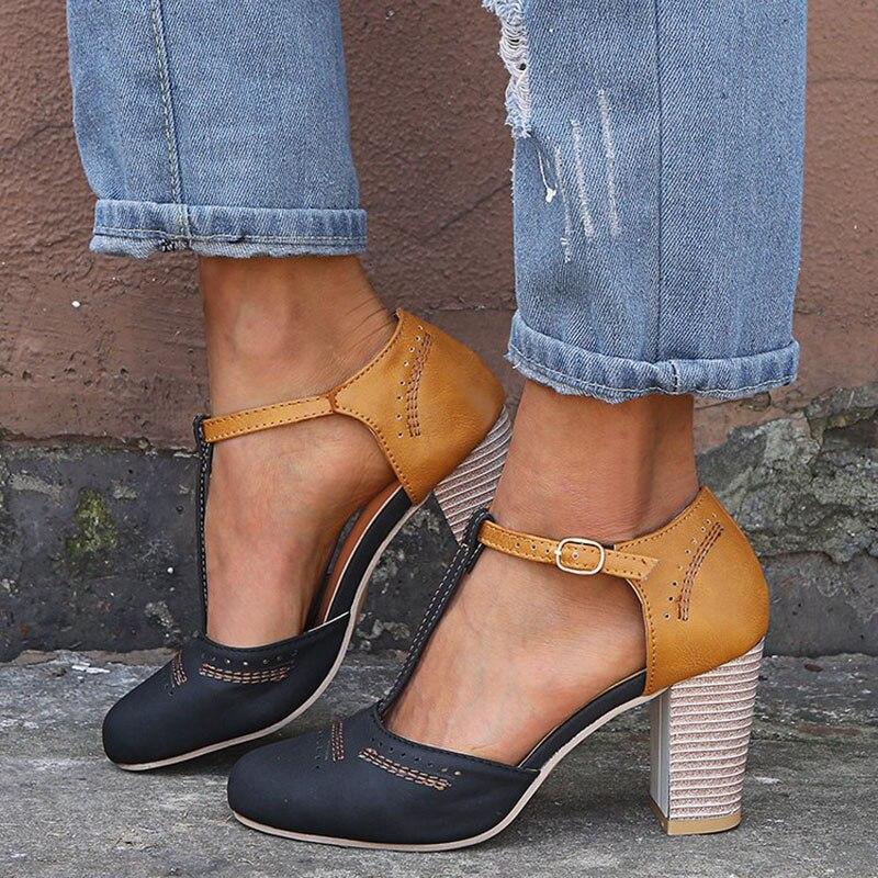 Summer Women Pump Brogue Casual High Thick Heels Buckle Strap Flock Antiskid Bottom Ladies Shoes Wedding Sandalias Mujer