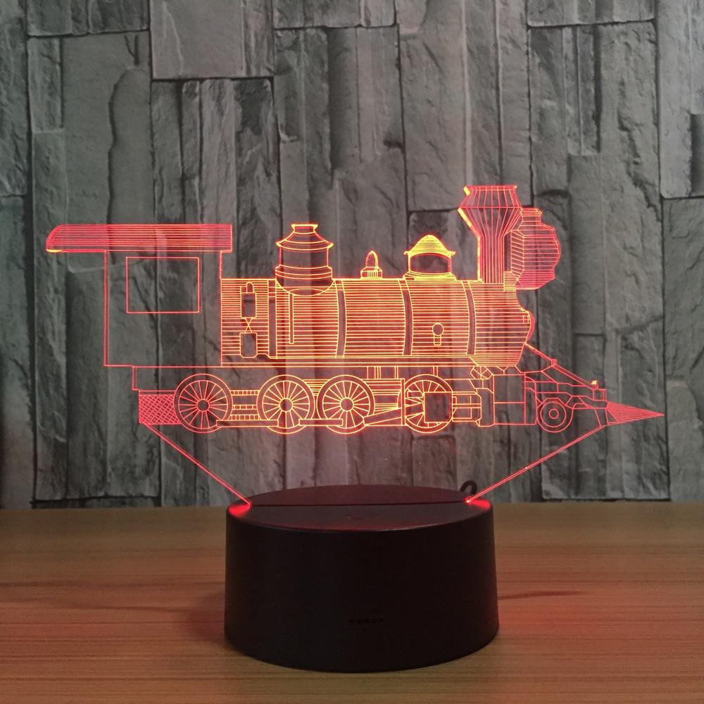 Lokomotif Antik Tren 3D Görsel Yanılsama Lambası Şeffaf Akrilik LED gece ışığı Renk Değiştirme Dokunmatik Masa Bulbing Lambas