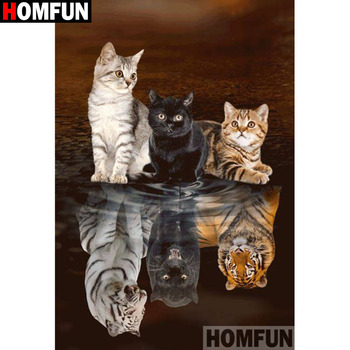 HOMFUN Full Square/Round Drill 5D DIY Diamond Painting Animal cat Embroidery Cross Stitch Home Decor Gift A18380