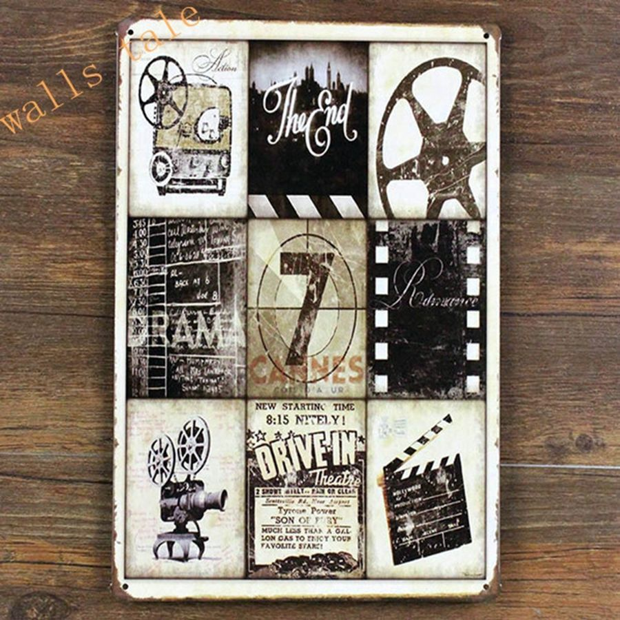 Retro Metal Tin Sign Movie Poster Fit For Cinema / Home