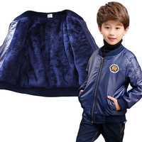 Size 90 170 Cm Kids Tops PU Fleece Leather Children Jacket For Baby Boys Black Cool
