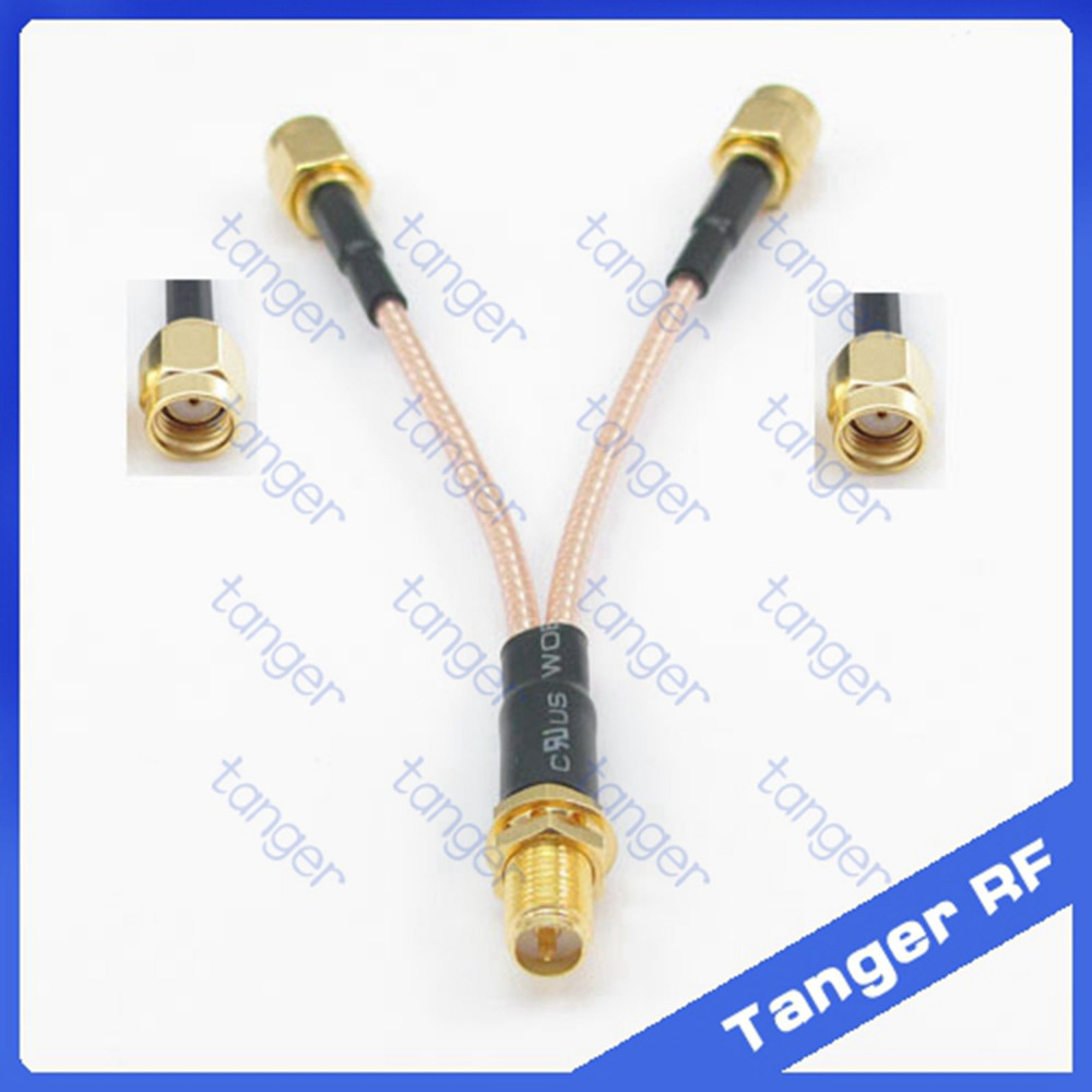 Y type cable for Antenna extension 1 RPSMA female to 2 RP-SMA male connector with 8 inch 20cm RG316 RG-316 Pigtail Jumper cable rp sma female to y type 2x ip 9 ms156 male splitter combiner cable pigtail rg316 one sma point 2 ms156 connector for lte yota