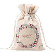 Большой Рождественский Подарочный пакет уникального дизайна, вечерние, для дома, винтажные, на шнурке, на холсте, для обеденного стола, Подарочная сумка, поставки 8