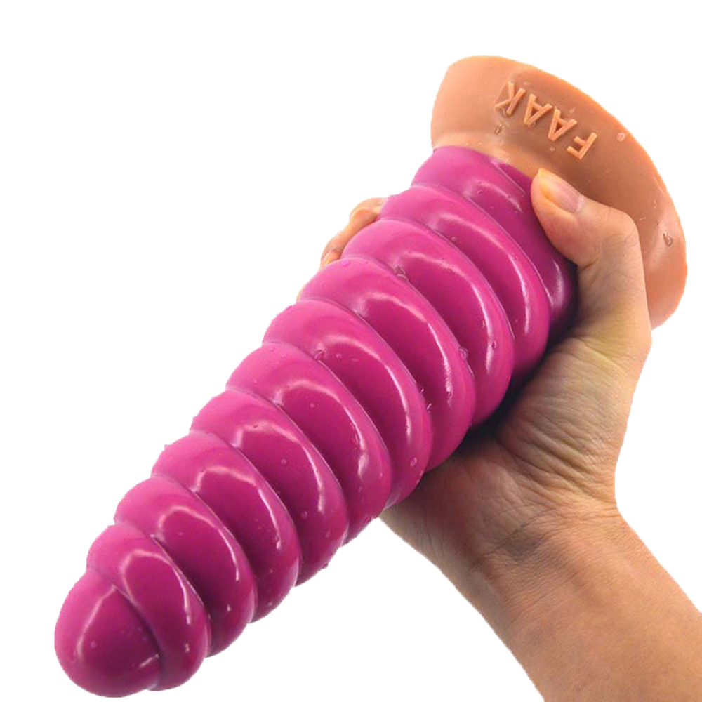FAAK Suction Cup Silicone Huge Anal Plug Animal Conch Dildo Stitching Pink Long Butt Plug Adult