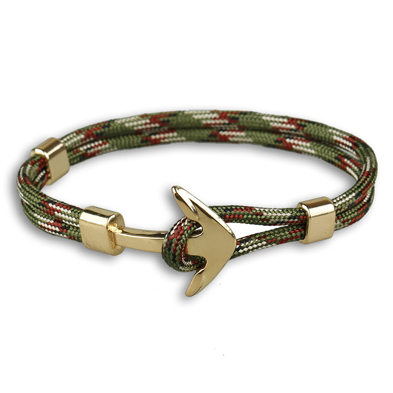 ZIG Man Anchor Bracelet Black Color Bracelet Wristband Bangle Punk Style Fashion Jewlery Wrap bracelet in gold color