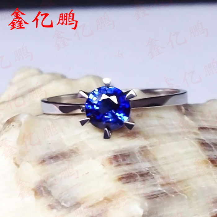 18 k gold inlaid natural female royal blue sapphire ring in Sri Lanka Fashion contracted fine jewelry 18 k rose gold with natural ruby ring female fine jewelry classic contracted the flower shape