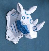 Ealisen настенный Синий и Белый носорог трофейная голова Wall Art Доска Охота скульптура искусственного таксидермия современные висит дома