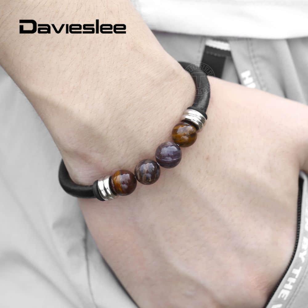 Davieslee 8inch Leather Bracelets Petrified Wood Bead Black