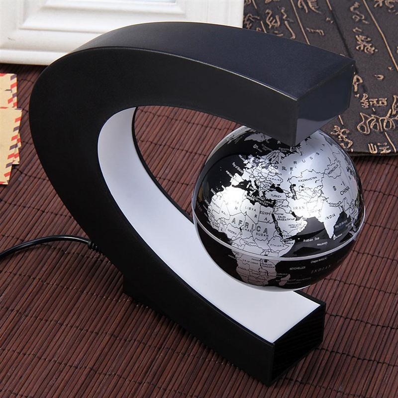 C shape magnetic levitation floating globe world map table lamp with 1 c shape magnetic levitation floating globe world map with led lights for desk decoration gumiabroncs Gallery