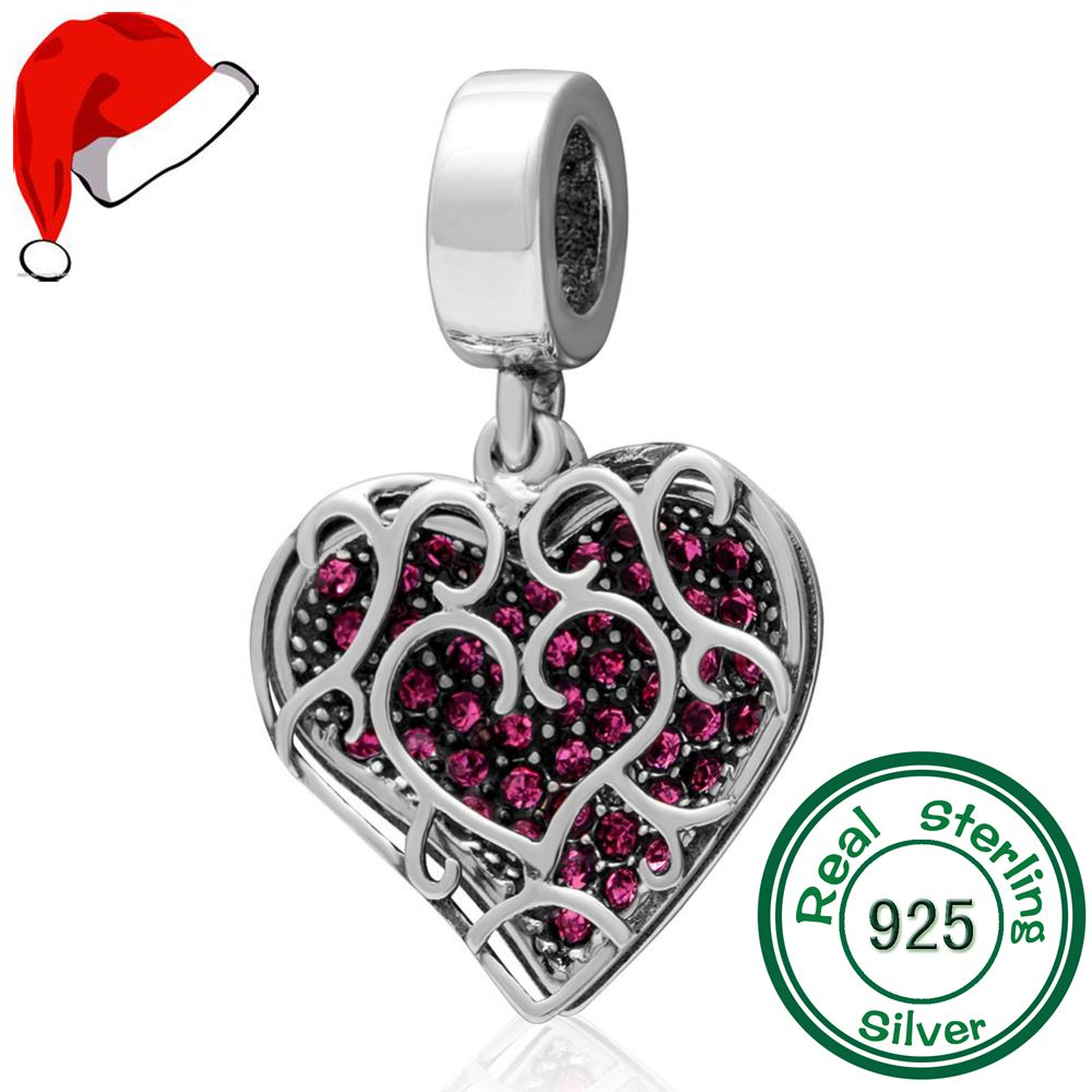3041a24ad Fits Pandora Charms Bracelets Original 925 Sterling Silver Heart Depant  Beads with Red CZ Charm diy jewelry Beads Free Shipping