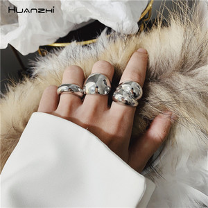 HUANZHI New Chic Personality Gold Color Metal Fat Open Rings Minimalist Design Finger Rings for Women Girls Party Jewelry Gifts(China)