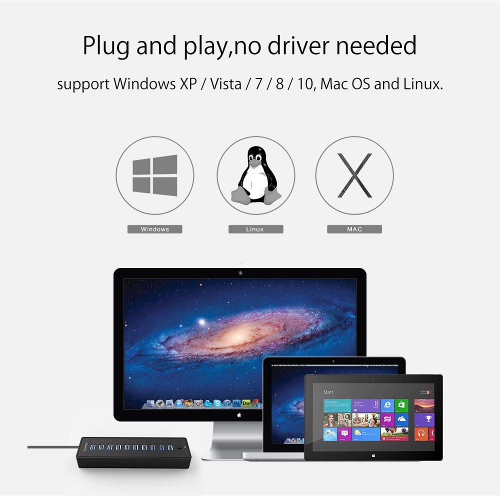 ORICO USB 3.0 10 pordi HUB Super Speed USB Splitter kaitsev - Arvuti välisseadmed - Foto 5
