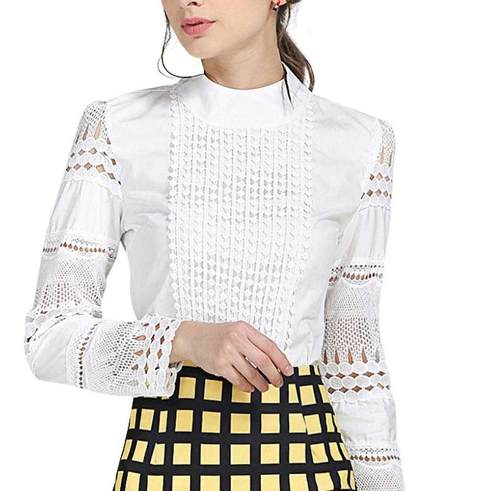 Autumn Long Sleeve White   Blouse   Lace Hollow Out Patchwork Womens Tops And   Blouses     Shirts   Slim Bottoming Plus Size S-5XL
