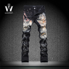 Original news black Flower trousers male slim 3d tiger print slim flower pants trousers mens top