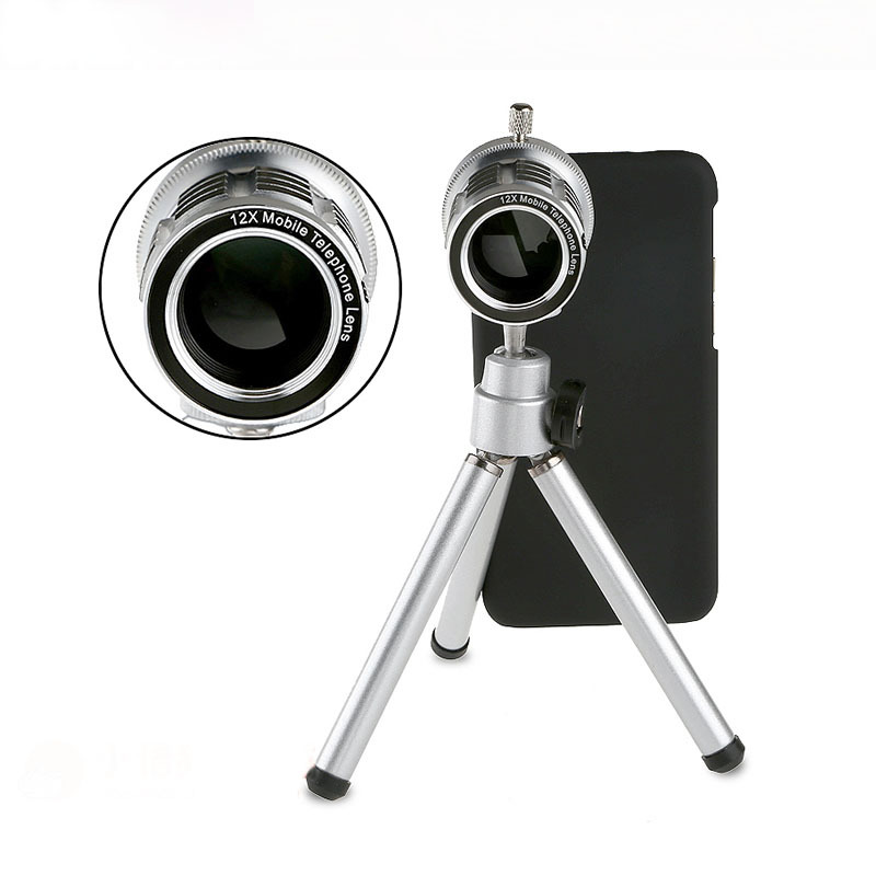 ffc3286128e1d9 12X Optical Zoom Telescope Lens with Tripod Case for iPhone 5