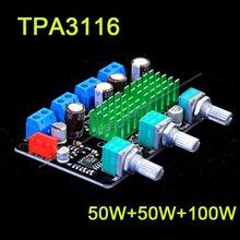 Promo offer Tracking number HIFI TPA3116 2.1CH 50W+50W+100W high-power subwoofer / digital amplifier board 12V 19v car power supply