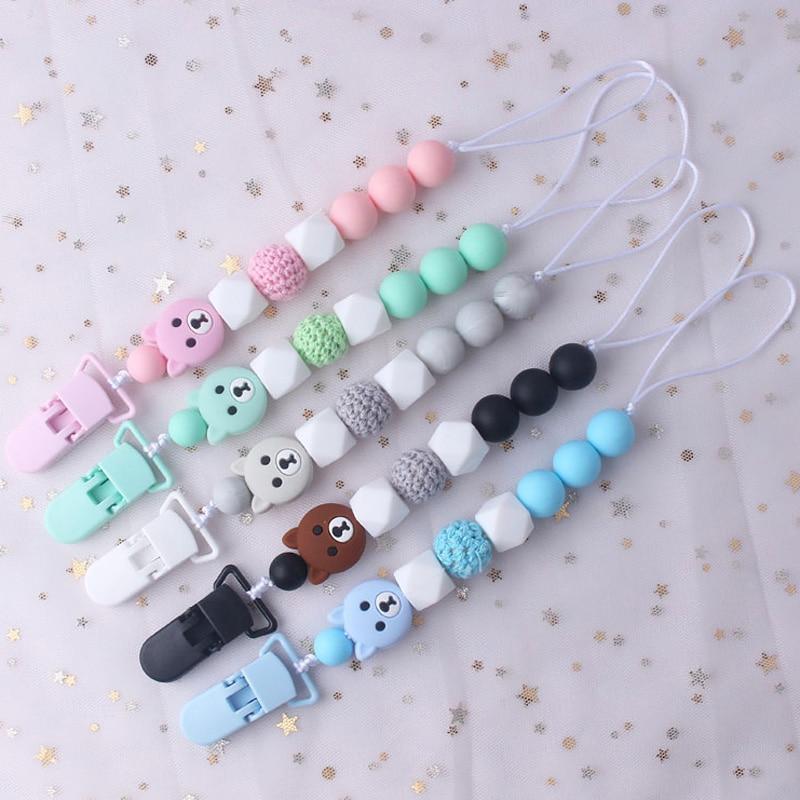 Kunststoff Clip Für Schnuller Halter Für Nippel Infant Baby Zahnen Leine Strap Nette Bär Silikon Anhänger Perlen Clip Kette