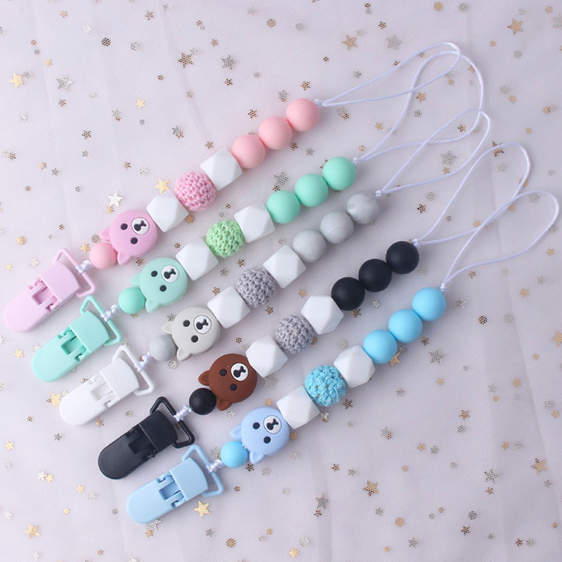 Plastic Clip For Pacifier Holder For Nipples Infant Baby Teething Leash Strap Cute Bear Silicone Pendant Beads Clip Chain