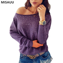 Knitted Sweaters Women Autumn Spring Clothes Pullovers Jumper Sexy Off Shoulder Sequin Long Sleeves Female Sweaters Femme Tops