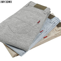 New 2017 Men Fashion Summer Slim Fit Linen Pants Cotton Casual Trousers Breathable High Quality Men