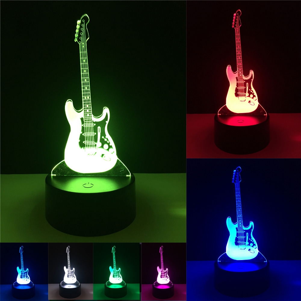 Creative Cartoon 3D Electric Music Guitar Model Illusion Lamp LED 7 Color Changing Gradient Baby Child Sleeping Night Light Gift touching color changing 3d illusion fish led night light
