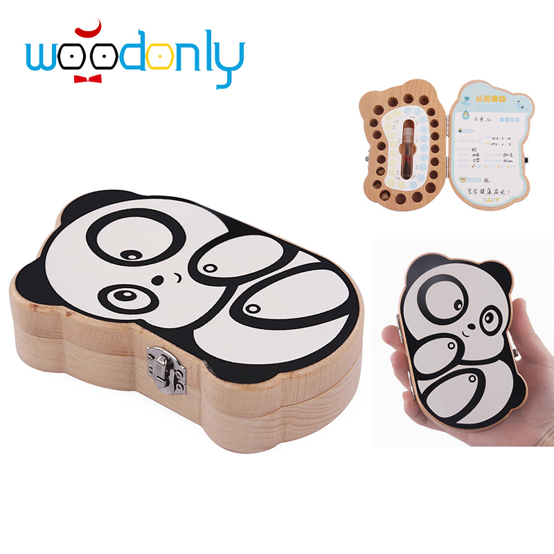 Baby teeth box save MILK TEETH organizer storage montessori Education wooden birthday gifts baby born panda image oyuncak