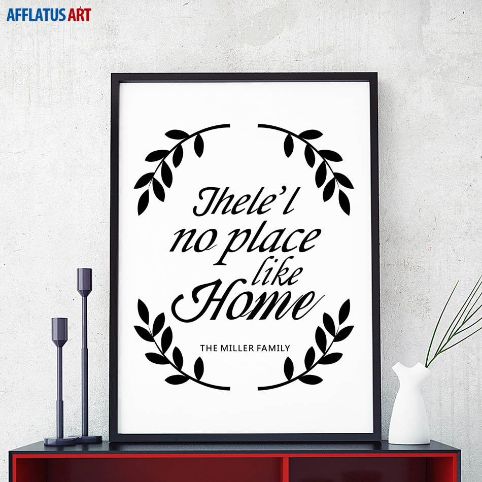 Afflatus Canvas Painting Nordic Black White No Place Like Home Wall Art Canvas Poster Print Wall