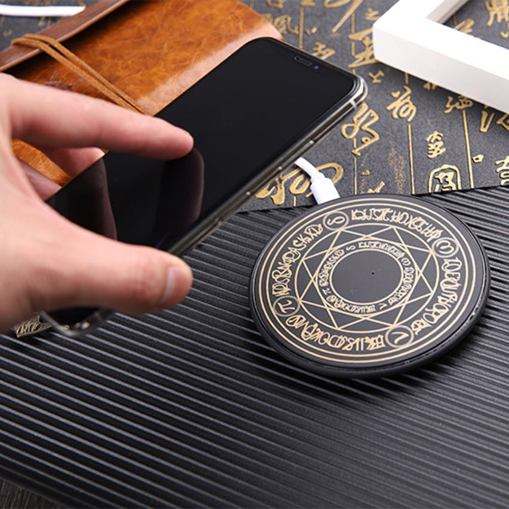 Magic Array Wireless Charger Qi Fast Charge Wireless Charging Pad Transmitter Round Charger ForiPhone 8 X XS MAX Samsung S9 S10 in Mobile Phone Chargers from Cellphones Telecommunications