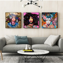 African American Black Abstract Women Portrait Wall Art Afro Poster Canvas Painting Home Wall Decor Pop Graffiti Style