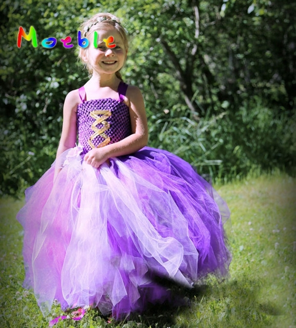 e5ca26d9c2 Purple&Pink Rapunzel Princess Girl Tutu Dress Children Girls Wedding  Birthday Photo Party Costume Tutu Summer Clothes