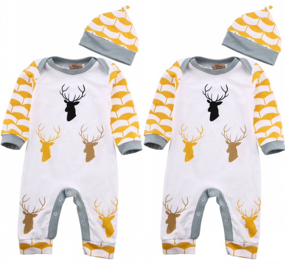 Newborn Infant Baby Boy Girl Cloes Rompers Caps Deer Long Sleeve Jumpsuit Hat Outfits Romper Clothes Autumn 0-24 M 3pcs set newborn infant baby boy girl clothes 2017 summer short sleeve leopard floral romper bodysuit headband shoes outfits