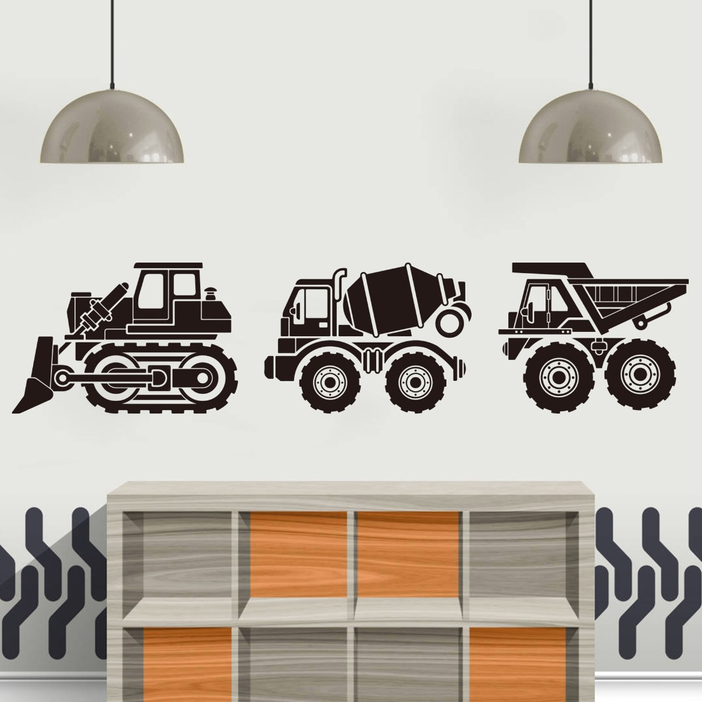 CONSTRUCTION VEHICLES Wall Decals Dump Trucks Dozers Signs Stickers Room Decor