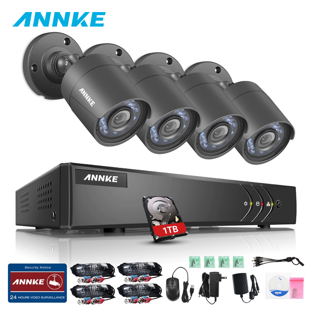 ANNKE 720P 4CH HD-TVI Security Camera System 1080N DVR Video Recorder 4 Pcs 1280TVL Weatherproof Cameras With 1TB